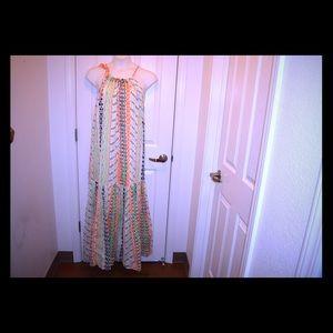 CREAM PRINTED COTTON DRESS BY LANE BRYANT *22/24*
